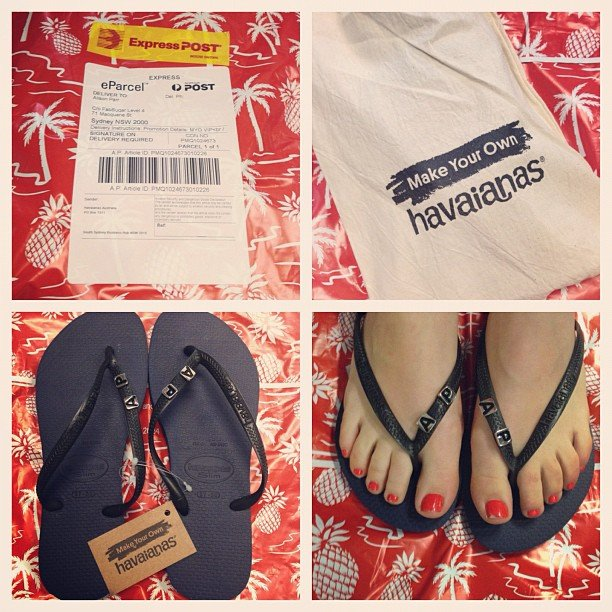 Customised Havaianas? Don't mind if we do! Ali received a new pair of these summer staples, complete with her initials.