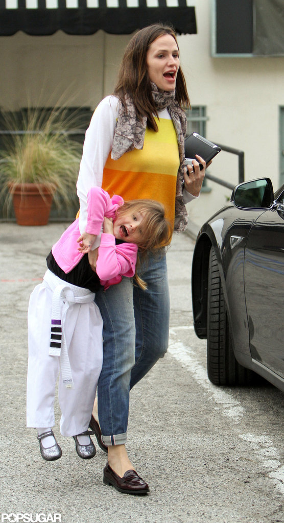 Jennifer Picks a Smiling Seraphina Up From Karate