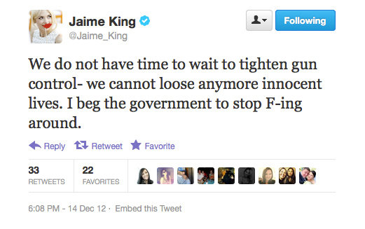 Jaime King weighs in on the gun control debate in America.