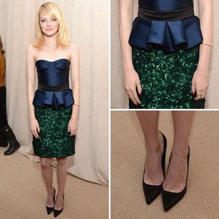 Get Emma Stone's Burberry Prorsum Peplum Top & Sparkly Skirt