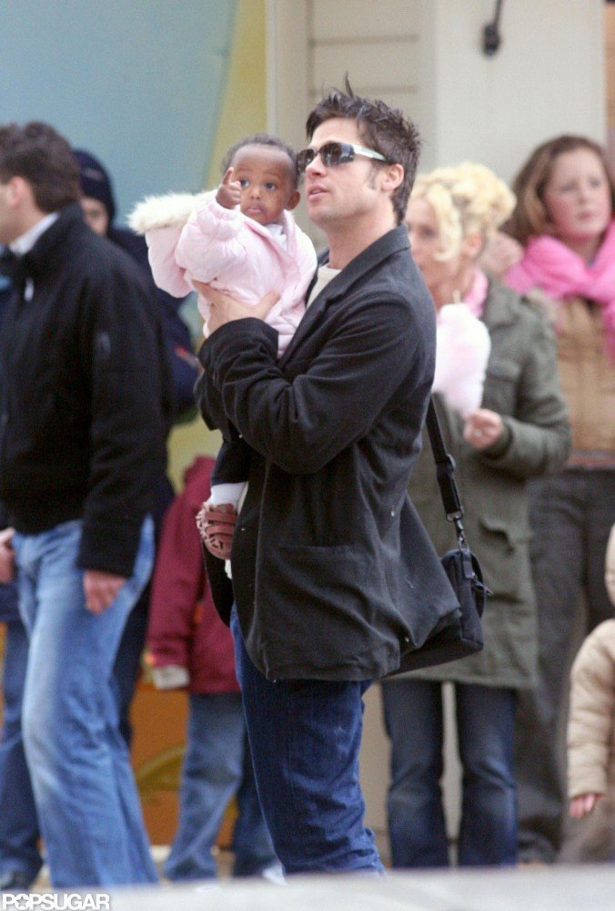 During a trip to Paris in February 2006, Brad Pitt showed daughter Zahara the Eiffel Tower carousel.