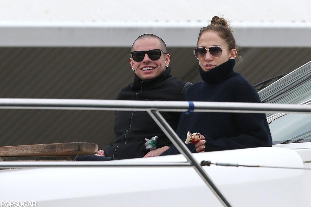 Jennifer Lopez and Casper Smart sat close together on a yacht.