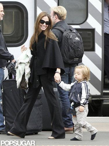 Angelina Jolie held Knox's hand in Scotland in August 2011.