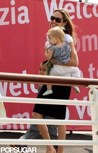 Angelina Jolie carried baby Vivienne in Venice in September 2007.