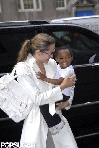 Angelina Jolie held on tight to Zaraha in New York City in September 2007.