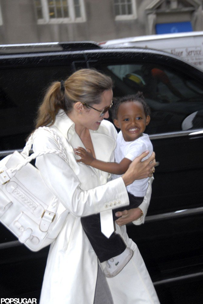 Angelina Jolie held on tight to Zaraha in New York City in September 2007.