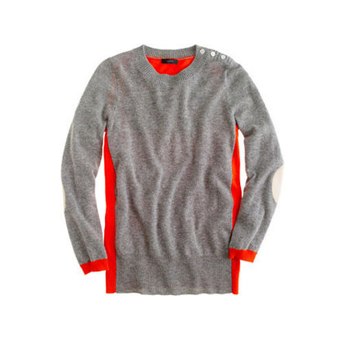 We love the flattering and eye-catching colorblock effect on J.Crew's dream elbow-patch sweater ($98).