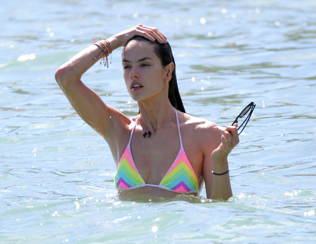 Alessandra Ambrosio cooled off with a dip.