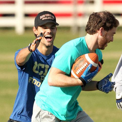 Taylor Lautner and Patrick Schwarzenegger Playing Football