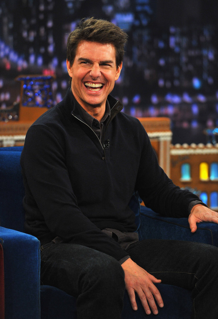 Tom Cruise wore a black sweater.