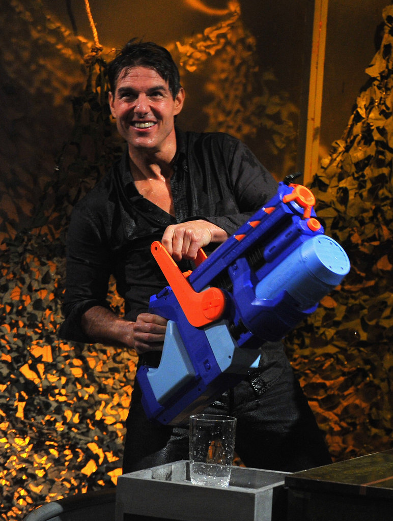 Tom Cruise sprayed Jimmy Fallon with a water cannon.