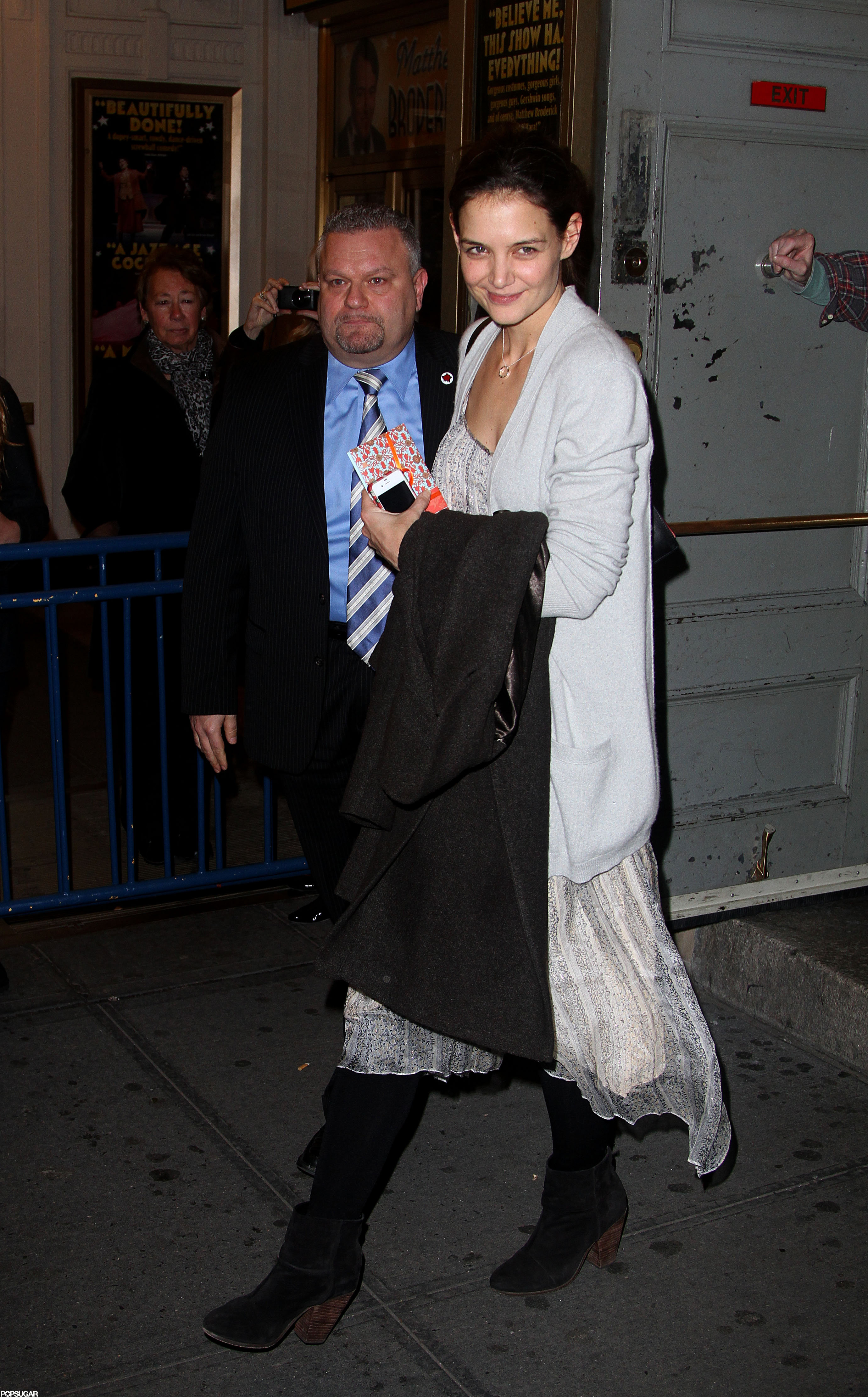Katie Holmes smiled on her way out of her Broadway show.