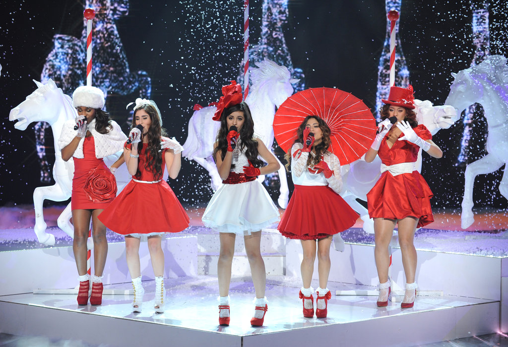 Fifth Harmony performed in red and white outfits.