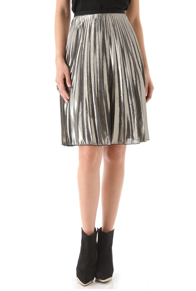 Rachel Roy's sunburst skirt ($328) would pair perfectly with a cozy sweater and flat ankle boots for a cozy NYE gathering.