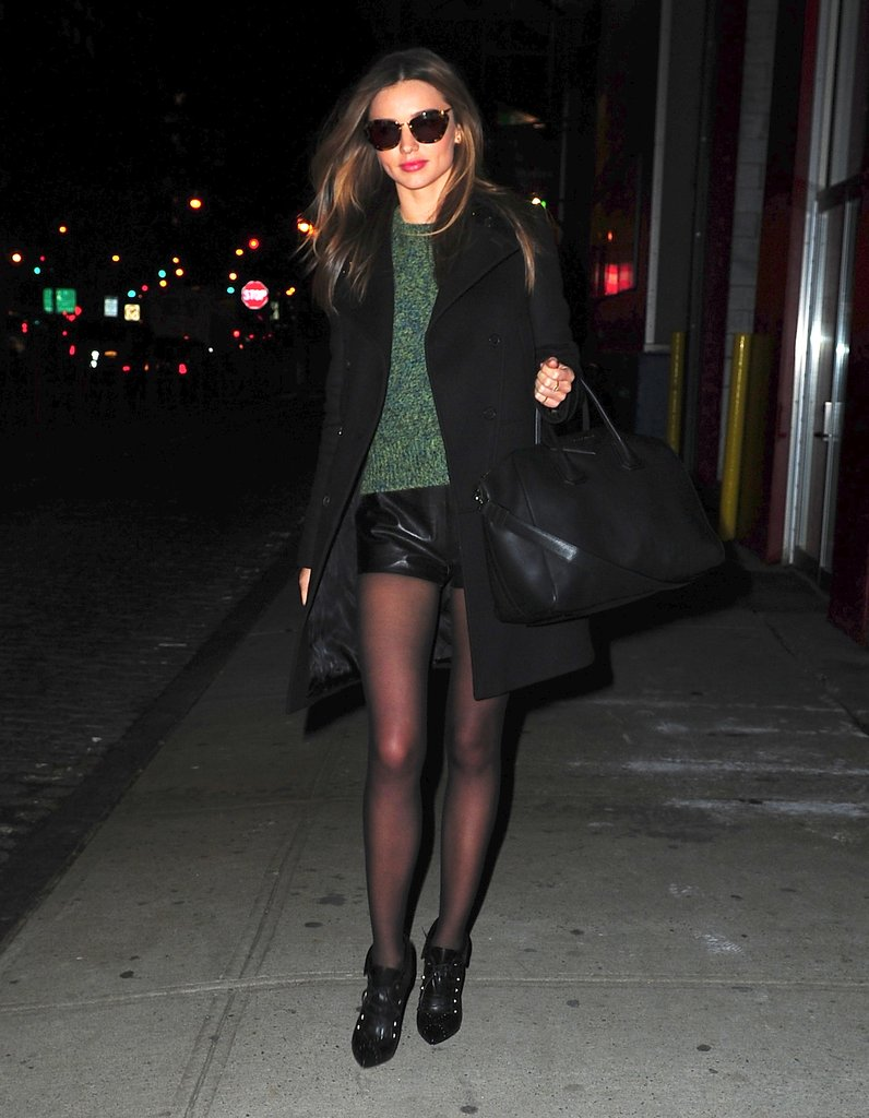 Miranda put a sexy spin on Winter shorts by styling her leather pair with a green Acne sweater and statement Tabitha Simmons booties.