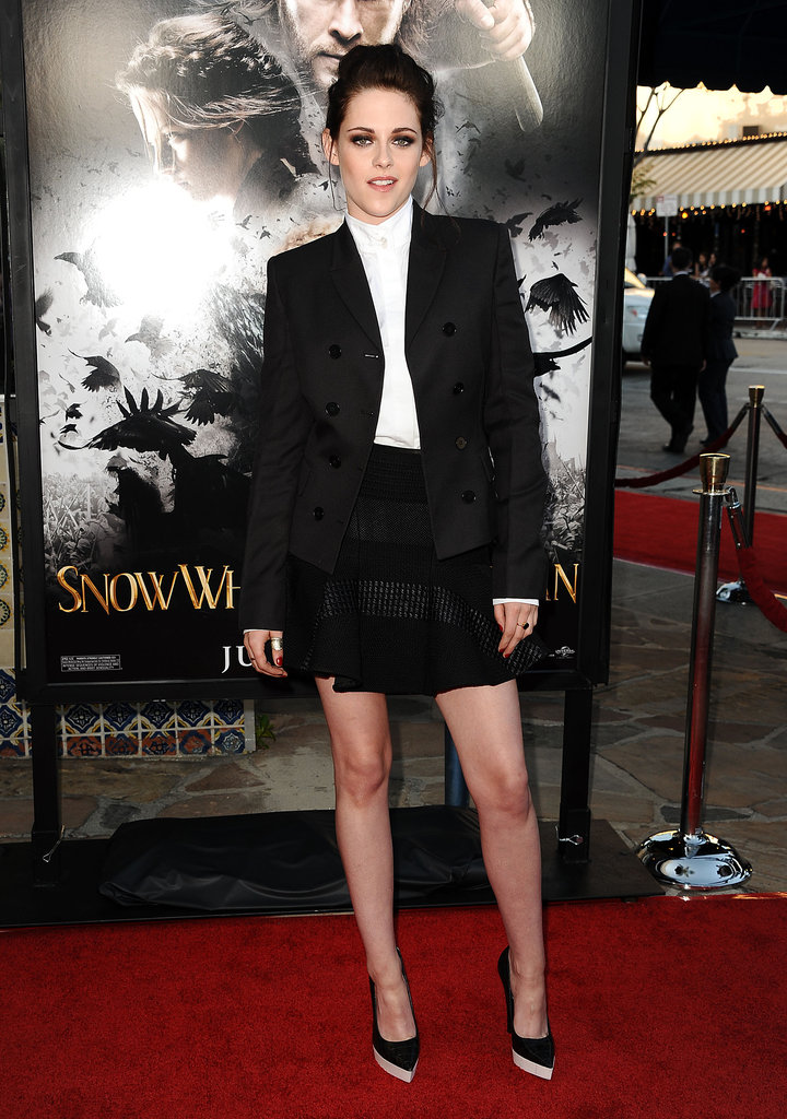At the LA screening of Snow White and the Huntsman in May, Kristen went for a boy-meets-girl tuxedo look. She sported head-to-toe Stella McCartney pieces, including the designer's faux leather colorblock pumps.