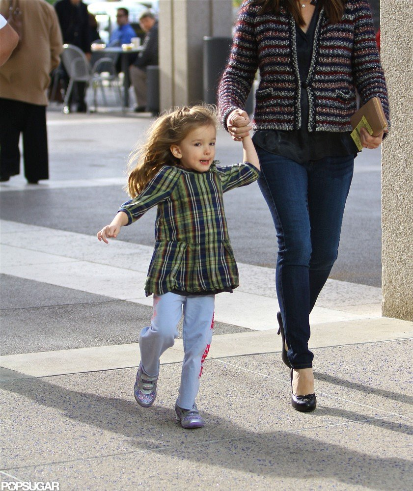 Seraphina Affleck skipped alongside her mom.