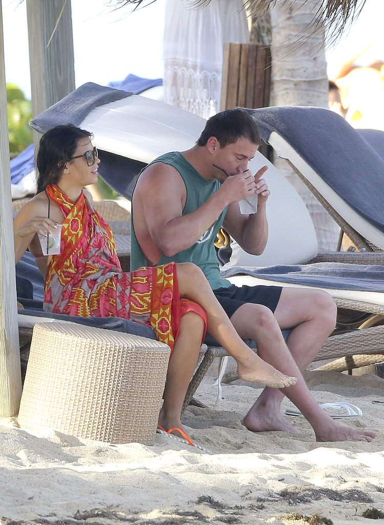 Channing Tatum and Jenna Dewan sipped icy drinks.