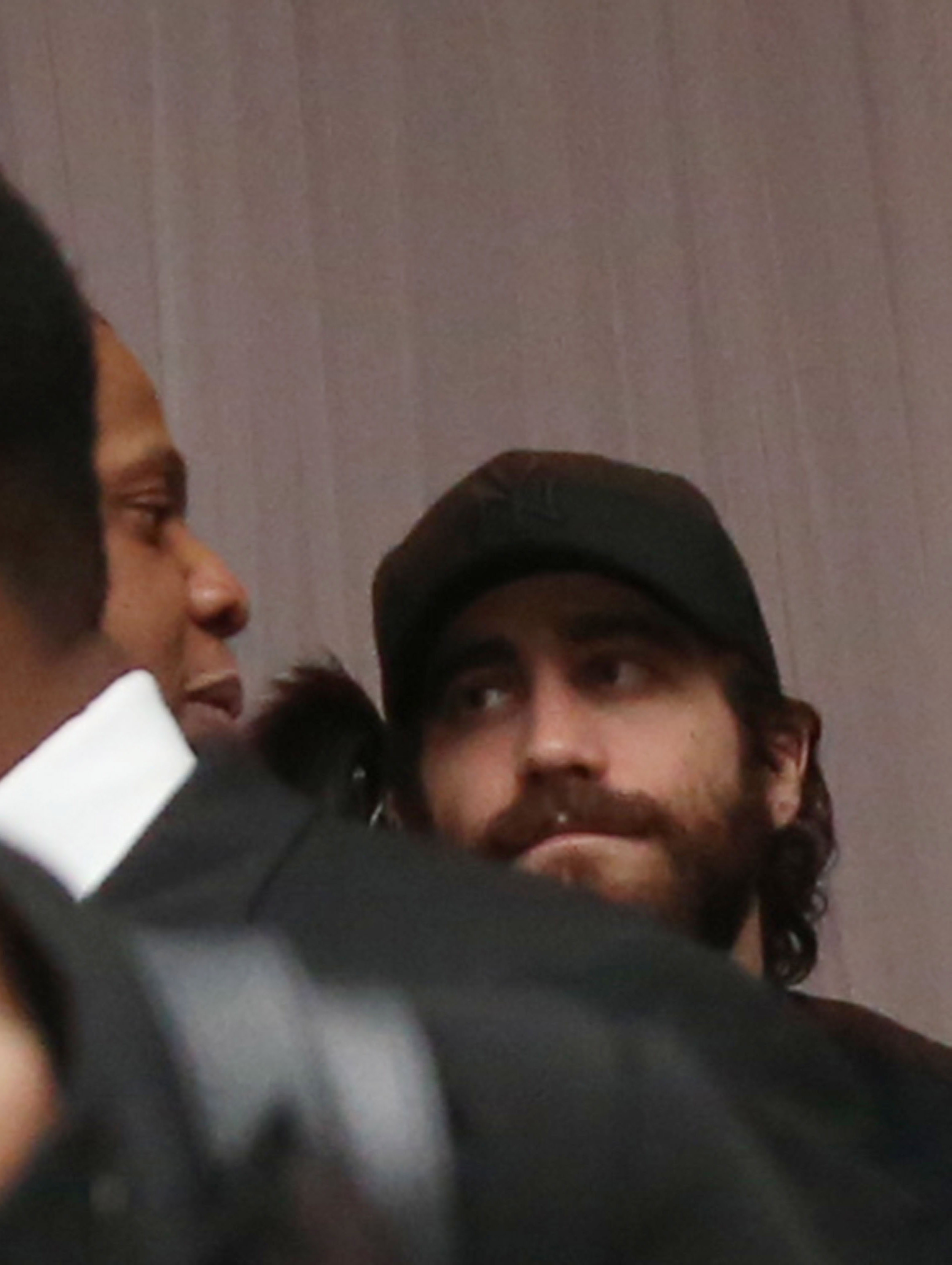 Jake Gyllenhaal hung out with Jay-Z at Brooklyn's Barclays Center.