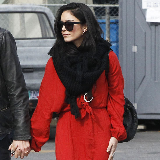 Vanessa Hudgens Wearing Red Maxi Dress