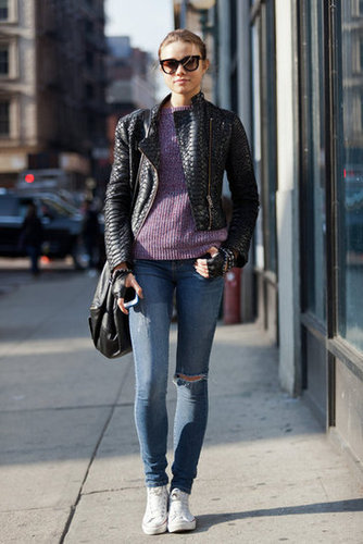 It's basic, but a dose of purple on a staple knit makes this jeans-and-jacket ensemble pop. Source: Adam Katz Sinding