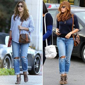 Eva Mendes Wearing Boyfriend Jeans 2013