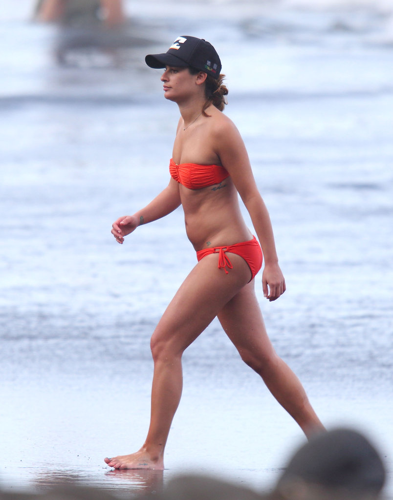 Lea Michele walked on the beach.