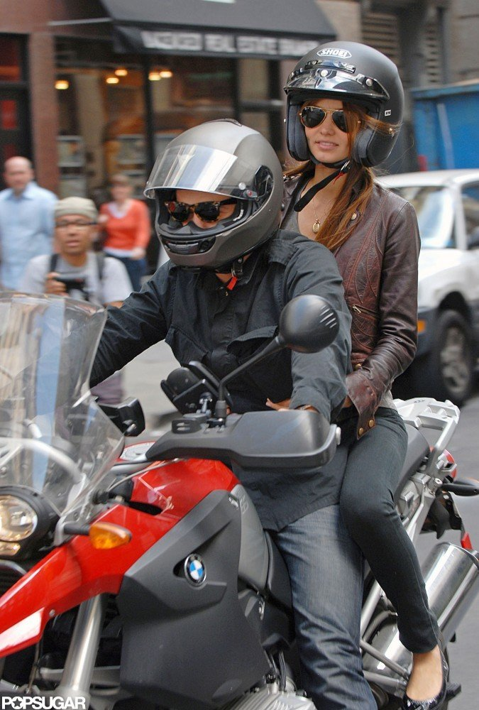 Orlando Bloom and girlfriend Miranda Kerr took a spin on his motorcycle through the streets of NYC in August 2008.