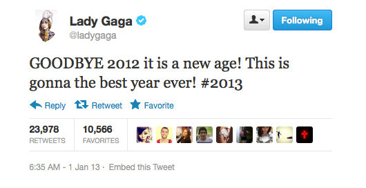 Lady Gaga's feeling excited about 2013!