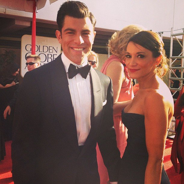 Max Greenfield and his wife hit the Golden Globes red carpet in style. Source: Instagram user goldenglobes