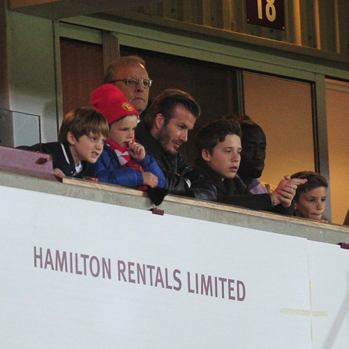 David Beckham at Manchester United Match With Boys | Photos