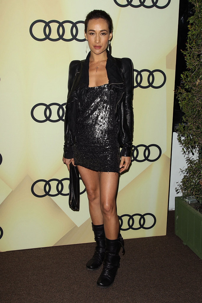Maggie Q posed for photos at the Audi Golden Globes party in LA.