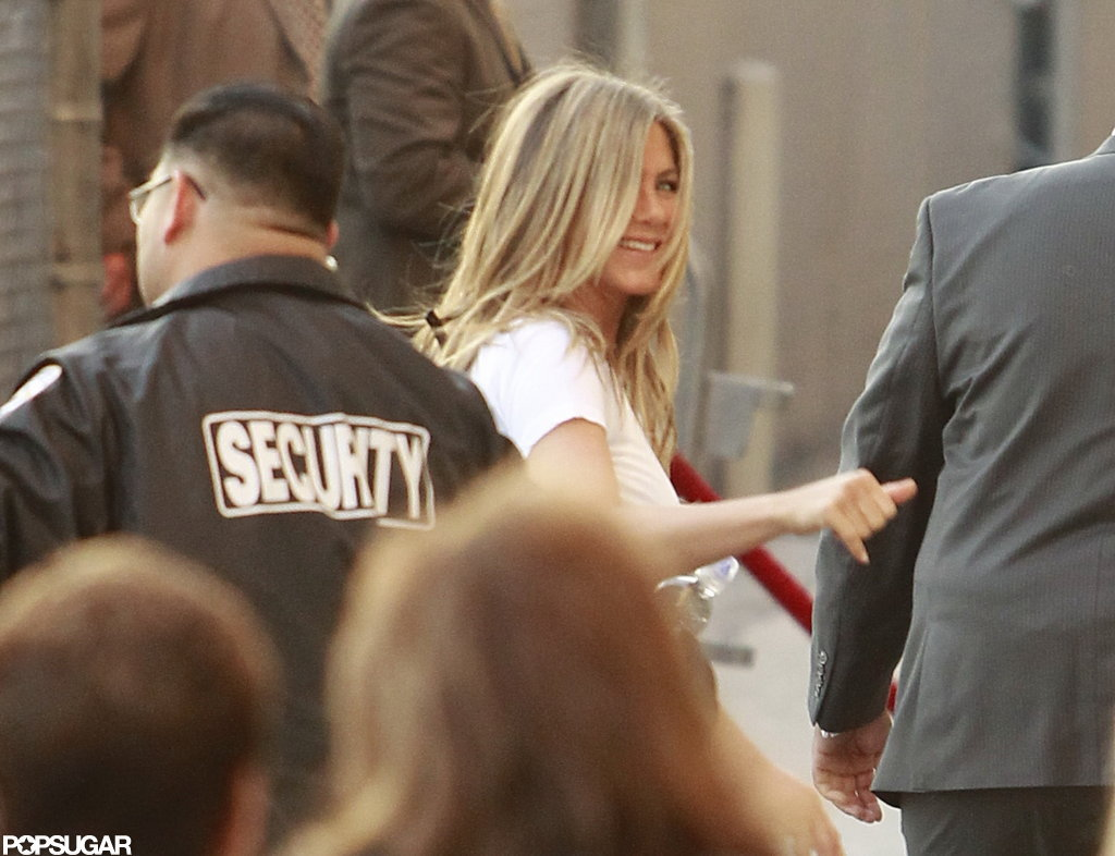 Jennifer Aniston Brings Justin Along — and Gives a Haircut! — on Kimmel