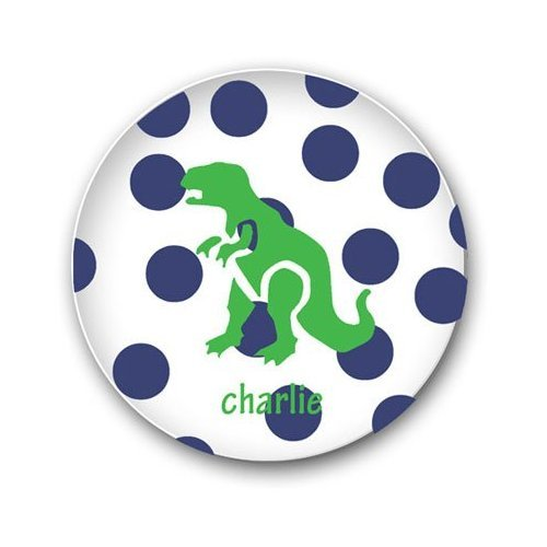 Preppy Plates Personalized Dinosaur and Dot Plate and Bowl Set