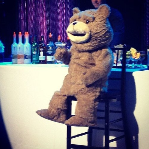 Emmy Rossum snapped a photo of Ted enjoying a drink at the bar at the CCAs. Source: Instagram user emmyrossum