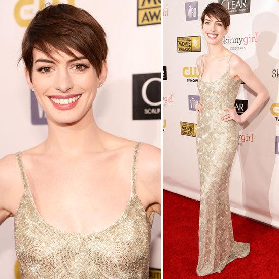 Anne Hathaway Oscar de la Renta 2013 Critics' Choice Awards