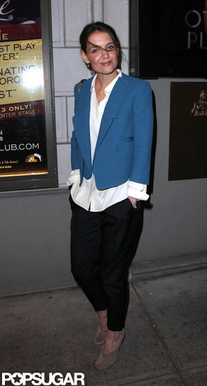 Katie Holmes donned a blue blazer to hit Broadway.