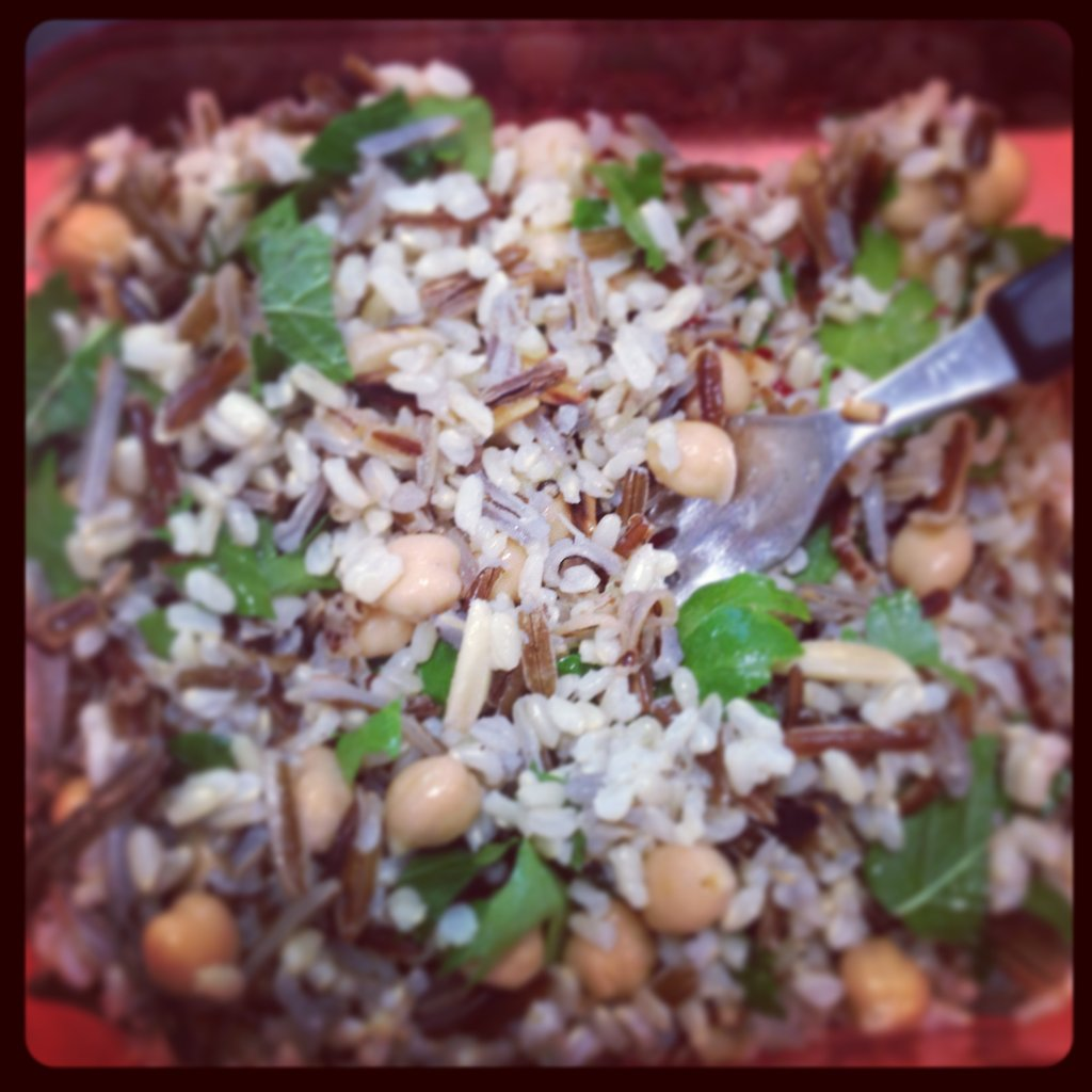 Marisa followed this delicious recipe from the What Katie Ate cookbook. Wild rice, chick pea, herb and almond salad. So tasty and nutritious!