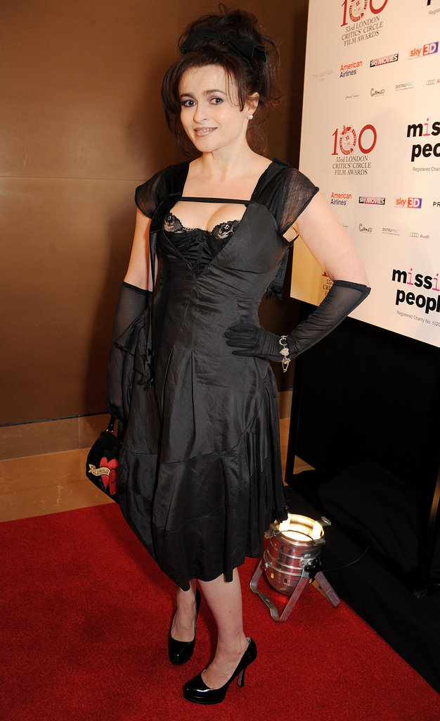 Helena Bonham Carter posed in a black dress.