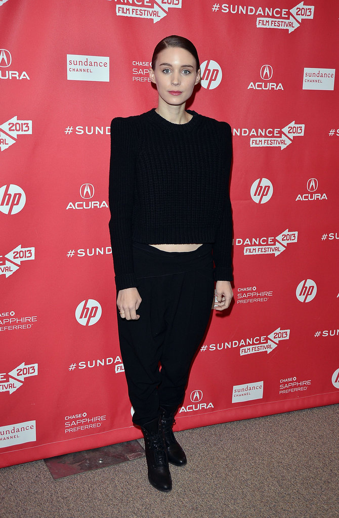 Rooney Mara worked an all-black ensemble — while showing off just a sliver of her midriff — at the Ain't Them Bodies Saints premiere.