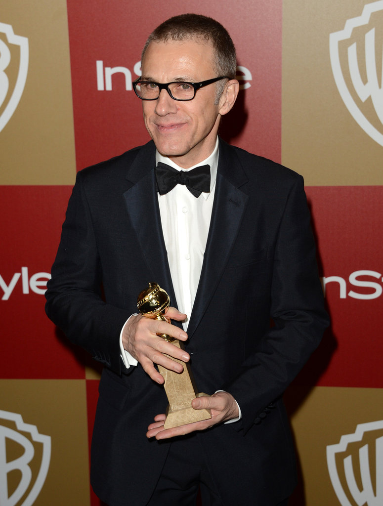 Christoph Waltz held his Golden Globe award.