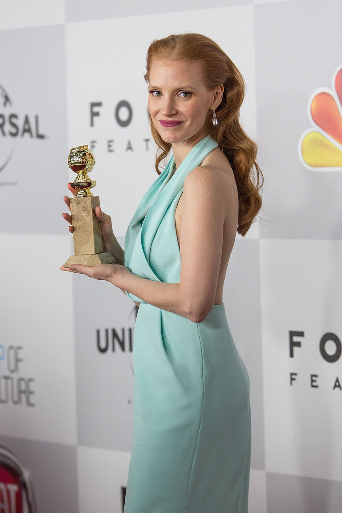 Jessica Chastain wore a blue dress.