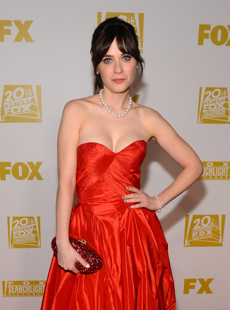 Zooey Deschanel posed for cameras on the Fox red carpet.