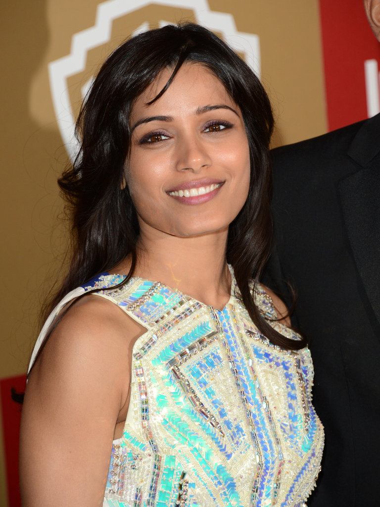 Freida Pinto flashed a smile.