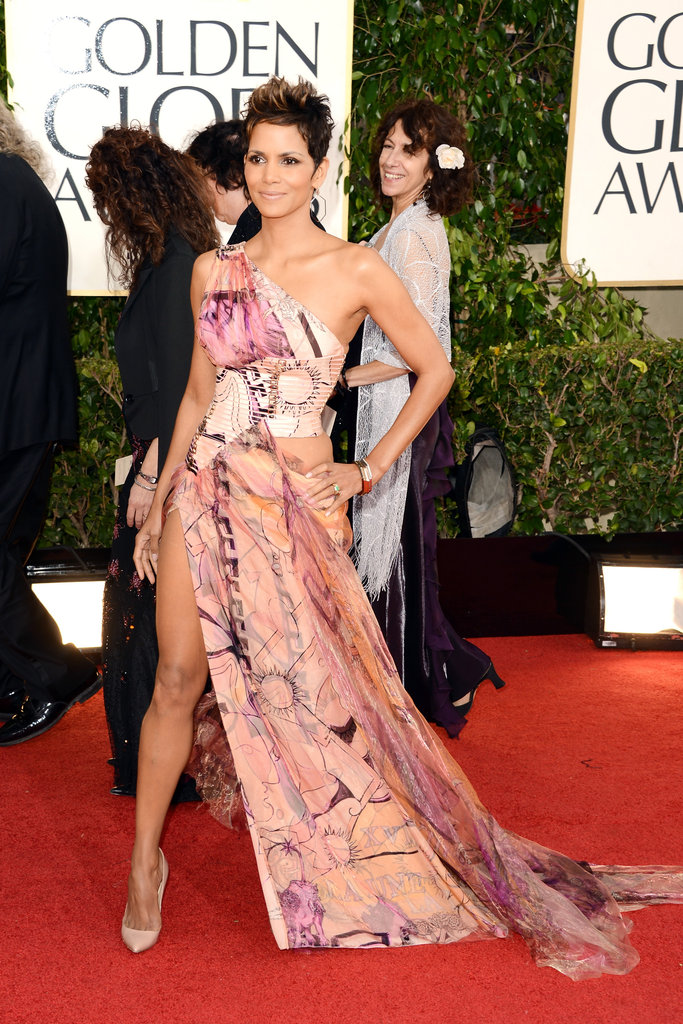 Halle Berry stepped out (literally) in this printed Versace design.
