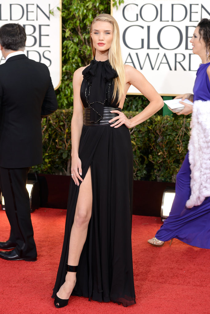 Saint Laurent was the label behind Rosie Huntington-Whiteley's stunning black gown.