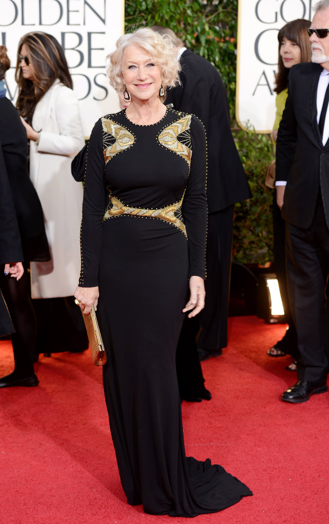 Helen Mirren's simple black number got a dose of Globes-appropriate glamour via some strategically placed gold embellishment.