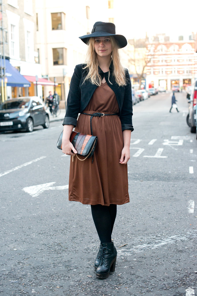 A vintage-feeling ensemble got a lift with wedged booties.