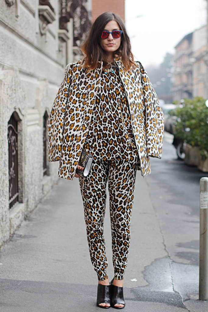 Leopard on leopard on leopard was offset with mirrored shades and slick black footwear.
