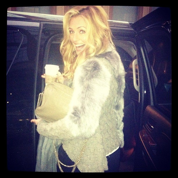 Cat Deeley flashed a smile in her fur vest. Source: Instagram user catdeeley